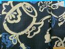 綿和柄プリント生地(サザンクロス)小槌 紺×ベージュ