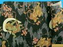 綿和柄プリント生地(サザンクロス)風神 雷神黒×薄オレンジピンク