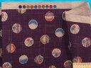 綿和柄プリント生地(サザンクロス)水玉紫×薄渋ブルー
