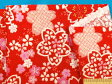 綿和柄プリント生地さくら・赤×ピンク