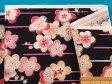 綿和柄プリント生地うめ・黒×ピンク