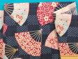綿和柄プリント生地扇子・渋紺×濃ピンク