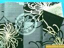 綿和柄プリント生地(サザンクロス)菊 グレー×黒