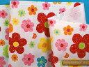 綿プリントオックス生地花とネコオフ白×赤