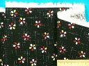 綿和柄プリント生地(サザンクロス)小花黒×ピンク×イエロー