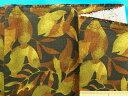 綿プリント生地葉・黒系×キミドリ系