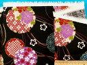 綿和柄プリント生地(サザンクロス)花黒×赤×金ラメ