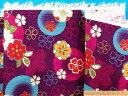 綿和柄プリント生地(サザンクロス)花赤紫系×水×金ラメ