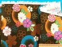 綿和柄プリント生地(サザンクロス)花渋モスグリン系×オレンジ×金ラメ