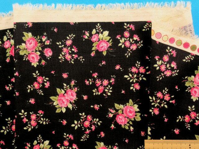 綿プリント生地(サザンクロス)ミニバラ・黒×ピンク