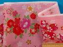 綿プリント和柄生地さくら・ピンク×濃ピンク