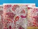 綿ローンプリント生地植物/カメレオン薄アイボリー×紫ピンク系(105cm幅 2m)