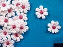 綿モチーフ白×渋ピンク