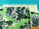 綿プリントストレッチジャガード生地花・薄グリン×紺系(130cm幅 1.5m)