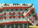 フリース生地ノルディック柄 グレー系×赤系(155cm幅 1.5m)