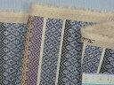 綿麻プリント生地ブルー×紫×茶