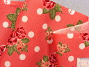 在庫処分・大幅値下げ綿プリント生地花とドクロの水玉濃ピンク