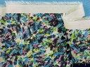 在庫処分・大幅値下げ綿レーヨンプリント生地オフ白×水色×キミドリ