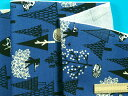 綿プリントオックス生地木とネコ・紺