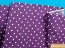 綿プリント生地水玉・紫