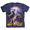 Men's Clothing - The Mountain Tシャツ Wolfpack Moon ( オオカミ メンズ 男性用 男女兼用 ) XL-4L 【輸入品】 大きいサイズ 半袖