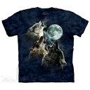 樂天商城 - The Mountain Tシャツ Three Wolf Moon in Blue ( オオカミ メンズ 男性用 男女兼用 ) XL-4L 【輸入品】 大きいサイズ 半袖