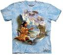 The Mountain Tシャツ Dreams of Wolf Spirit (インディアン 少女 ホワイトウルフ メンズ 男性用 男女兼用) XL-4L 【輸入品】 大きいサ..