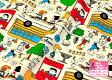【オックスプリント】スヌーピータウン☆(108cm巾)【サンリオ】【キャラクター生地・布】