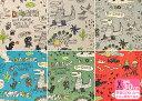らくがきキョウリュウ(miyako kawaguchiデザイン)お子様がお絵描きしたようなラフタッチの恐竜柄・ガオーしっとりとしたやわらかさで程よい厚さの綿麻プリント(110cm巾)スモックやチュニックなど入園入学グッズ作りに!