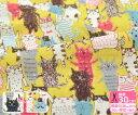 らくがきネコ(miyako kawaguchiデザイン)ダブルガーゼ オフ カラシ【生地・布】MIYAKO-12W