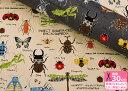 【コットンツイル】昆虫(INSECT 虫)星柄のクワガタやテントウムシなど カラフル 中厚 綿100% 110cm巾【生地 布】【いきもの柄】【入園入学用品の手作りに!】