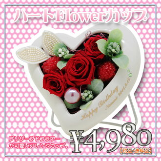 Cute preserved karenai flower gift heart flower Cup birthday or anniversary celebrations