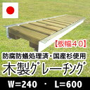 木製グレーチング長さ約600mm・幅約240mm(板幅40mm)【保存処理木材仕様】【側溝蓋/溝蓋/蓋/グレーチング/カバー/U字側溝/溝カバー/国産/杉/天然木/ACQ/間伐材/木製】