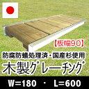 木製グレーチング長さ約600mm・幅約180mm(板幅90mm)【保存処理木材仕様】【側溝蓋/溝蓋/蓋/グレーチング/カバー/U字側溝/溝カバー/国産/杉/天然木/ACQ/間伐材/木製】