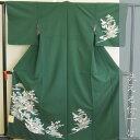 【ネット限定価格】洗える付下げ Mサイズ 濃緑 日本製 袷(10月~5月) 061-0833