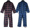 【Wrangler/100-160】チェック柄長袖ネルシャツパジャマ(綿100%・2色)