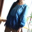 <在庫限り>グラデーション藍染め裾レースブラウス(レディース9号)