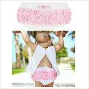 (送料無料)Ruffle Butts(ラッフルバッツ)スイスドット白×ピンクフリフリコットンブルマフリルがいっぱいでかわいいおしりに♪