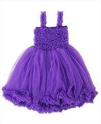 Ruffle Butts(ラッフルバッツ)パープル(紫)プリンセスドレス後ろにサテンリボンがついたワンピースセレモニードレス結婚式パーティーバースデーお誕生日会ベビーキッズ子供用ドレス