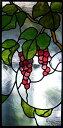ステンドグラス 建物・鉛線方式建物組み入れ用パネル(赤い葡萄)