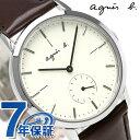 アニエスベー 時計 メンズ レディース FCRT970 agnes b. アイボリー×ブラウン 革ベルト 腕時計