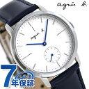 アニエスベー 時計 メンズ レディース FCRT971 agnes b. ホワイト×ネイビー 革ベルト 腕時計【あす楽対応】