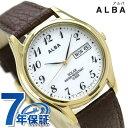 セイコー アルバ ソーラー メンズ 腕時計 AEFD544 SEIKO ALBA デイデイト ホワイト×ブラウン 時計【あす楽対応】