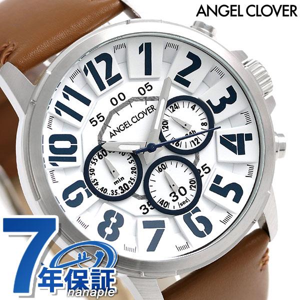 エンジェルクローバー バンプ クロノグラフ メンズ 腕時計 BU44SWHBR Angel Clover ホワイト×ブラウン [新品][7年保証][送料無料]