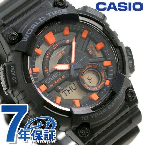 カシオ チープカシオ テレメモ30 ワールドタイム メンズ AEQ-110W-1A2VDF CASIO 腕時計 ブラック 時計【あす楽対応】