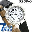 シチズン レグノ レディース ソーラー 電波 クラシック ストラップ ホワイト×ブラックカーフ CITIZEN REGUNO KL4-711-10