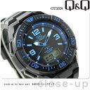 シチズン Q&Q 電波ソーラー コンビネーション ソーラーメイト MD06-335 CITIZEN メンズ 腕時計 オールブラック×ブルー