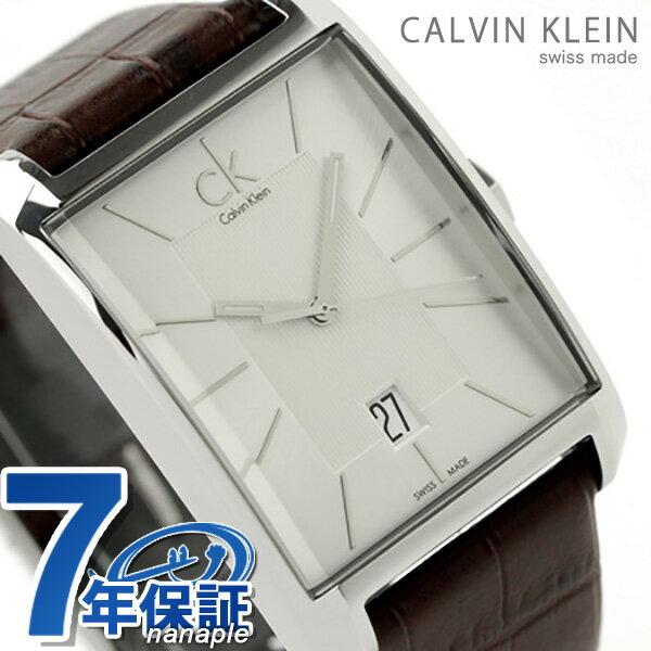 カルバンクライン メンズ 腕時計 window シルバー×ブラウンレザー K2M21126 時計