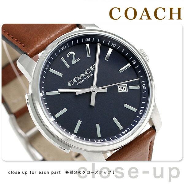コーチ ブリーカー スリム クロノグラフ メンズ 腕時計 14602004 COACH ネイビー×ブラウン【対応】 [新品][1年保証][送料無料]