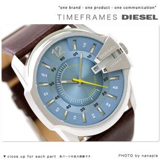 Diesel watch DIESEL mens watch brown leather / light blue DZ1399